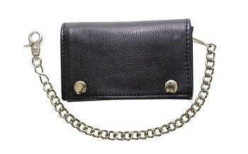 Biker Leather Trifold Chain Wallet with Snaps