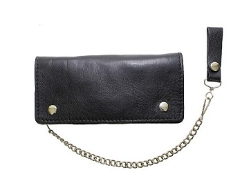 3 Compartment Black Leather Chain Wallet