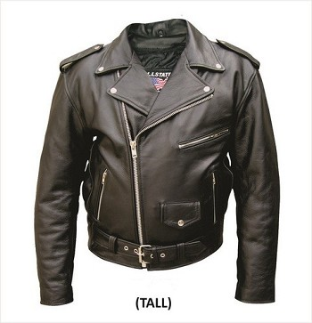 Big Mens Classic Tall Leather Motorcycle Jacket