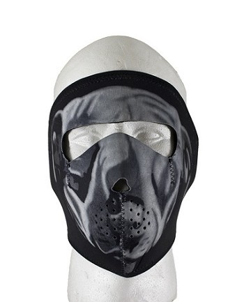 Neoprene White Bulldog Motorcycle Face Mask