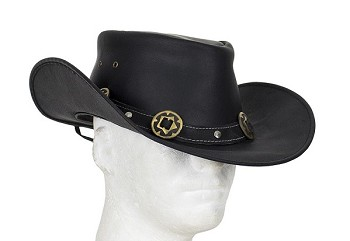 Black Leather Cowboy Hat with Conchos