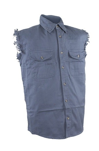 Mens Gray Denim Sleeveless Shirts with Buttons