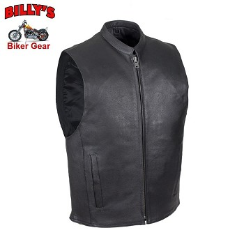 Mens Lined Leather Motorcycle Vest with Gun Pocket