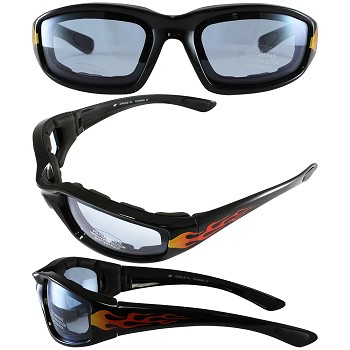 Biker Sunglasses Blue Lenses with Flames