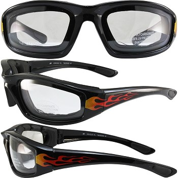 Biker Sunglasses Clear Lenses with Flames