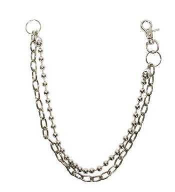 40 Inch Chrome Beaded Biker Chain Necklace