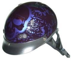 DOT Purple Boneyard Motorcycle Half Helmet