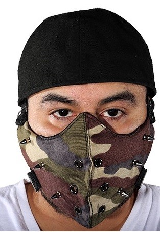 Camouflage Face Mask with Spikes