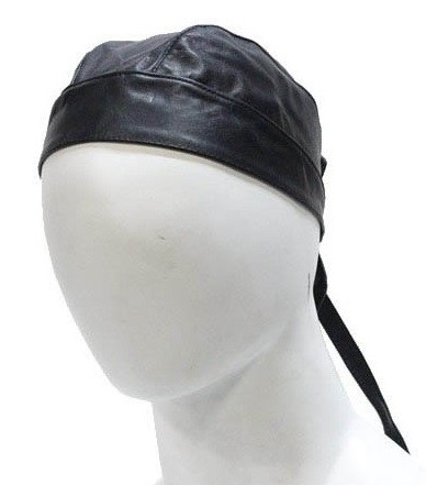 Plain Black Leather Motorcycle Skull Cap