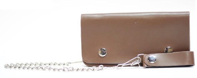 Plain Brown Leather Wallet with Chain