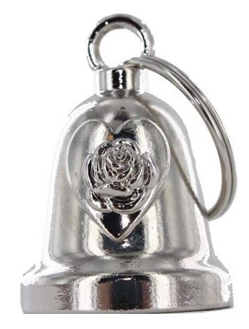 Rose and Heart Chrome Motorcycle Bell