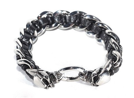 Stainless Steel Bracelet With Skulls & Lace