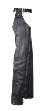 Leather Sling Chaps with Snap Belt Loops