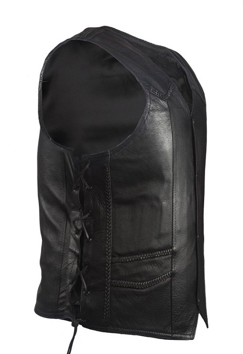 Mens Gun Pocket Leather Vest With Braid