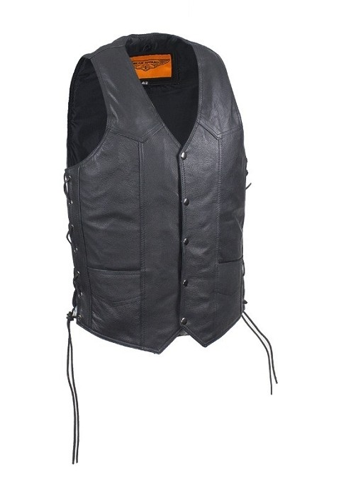 Mens Conceal Carry Lined Leather Vest With Pockets