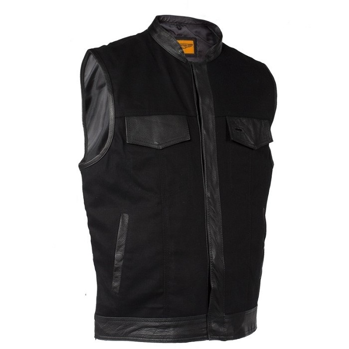 Mens Black Denim Biker Vest With Leather Trim