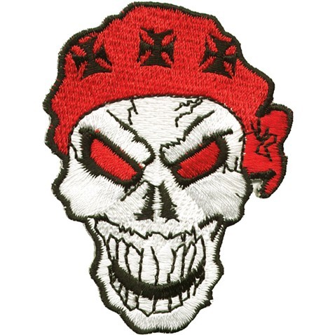 Skull with Red Bandana and Black Iron Cross Patch