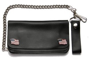 Leather Chain Wallet With USA Flag Pins