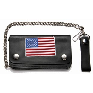 Leather Chain Wallet With USA Flag