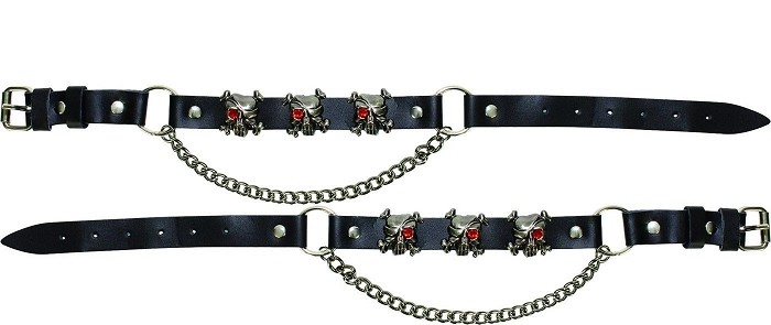 Pirate Skull Leather Motorcycle Boot Chains