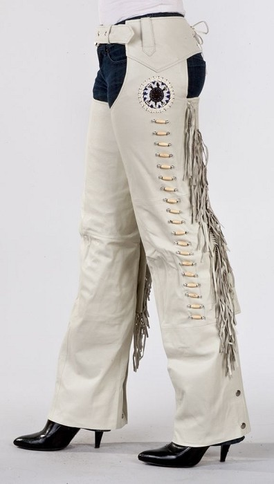 Womens Cream Dreamcatcher Leather Chaps