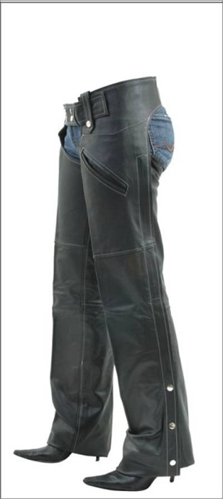Womens Lined Soft Touch Zippered Leather Chaps