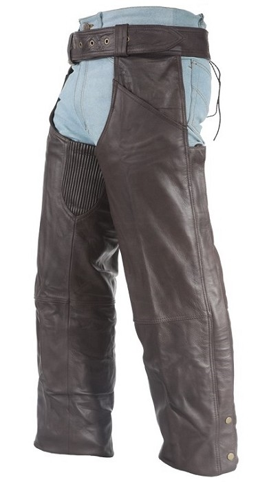 Brown Leather Motorcycle Chaps with Zipper