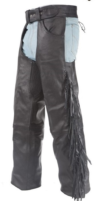 Lined Leather Chaps with Fringe and Braid