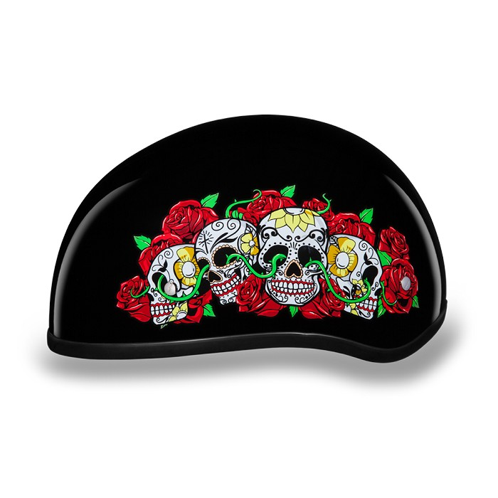 DOT Motorcycle Half Helmet with Roses and Skulls