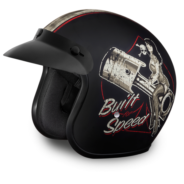 DOT 3/4 Open Face Built for Speed Motorcycle Helmet
