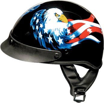DOT Motorcycle Half Helmet With American Flag & Eagle
