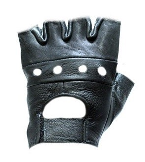 Fingerless Leather Biker Motorcycle Gloves