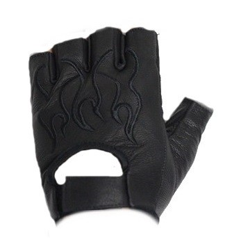 Fingerless Leather Motorcycle Gloves with Black Flames