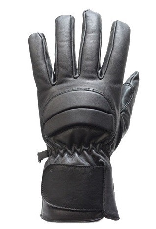 Lined Padded Full Finger Leather Motorcycle Gloves