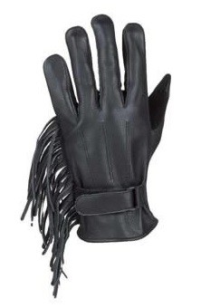 Womens Full Finger Leather Gloves With Fringes
