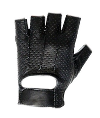 Gel Palm Vented Fingerless Leather Motorcycle Gloves
