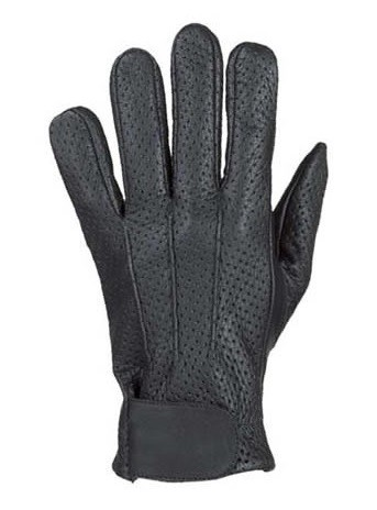 Men's Vented Leather Motorcycle Gloves with Gel Palm