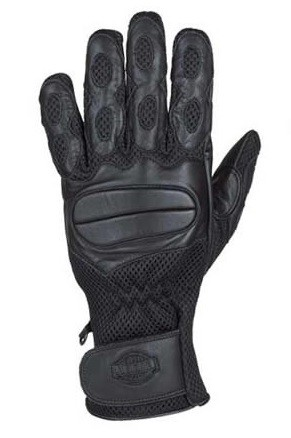 Vented Gel Palm Motorcycle Gloves with Wrist Strap