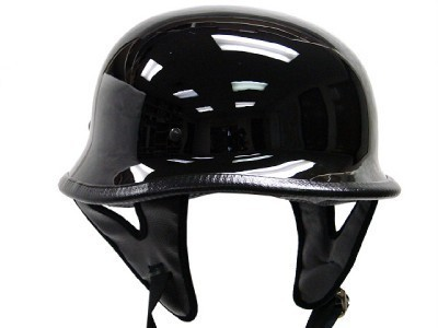DOT German Gloss Black Motorcycle Helmet