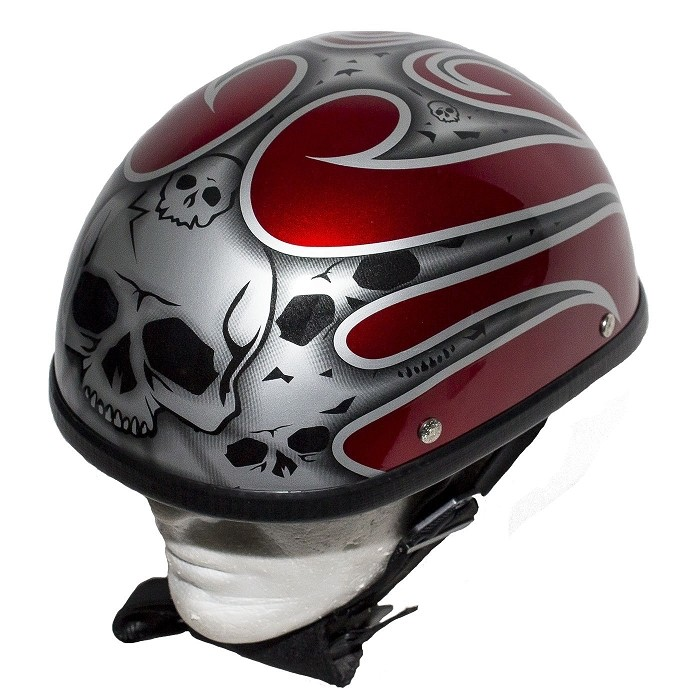 Burgundy Novelty Motorcycle Helmet with Silver Flames