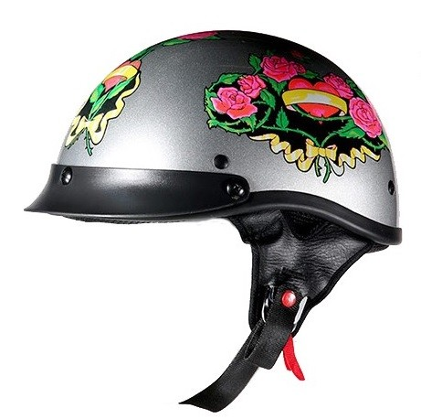 DOT Womens Motorcycle Half Helmet with Pink Roses