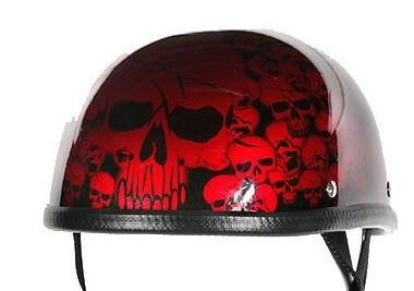 Burgundy Boneyard Novelty Motorcycle Helmet with Skulls