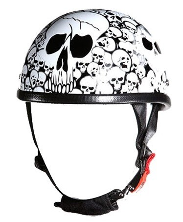 White Eagle Novelty Motorcycle Helmet with Skulls