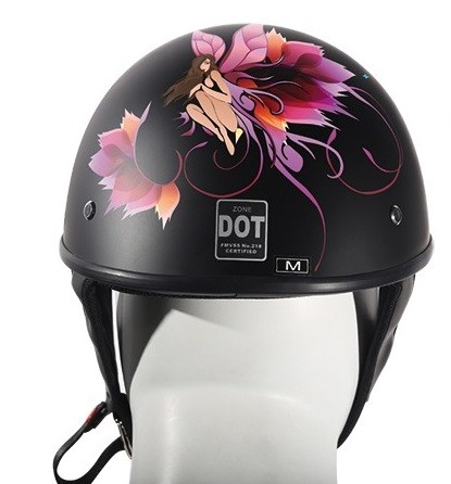 DOT Motorcycle Half Helmet with Fairy and Flowers