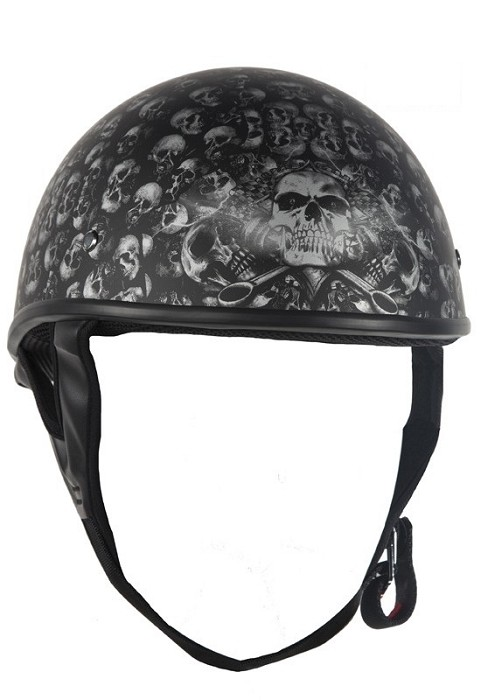 DOT Flat Black Motorcycle Half Helmet with Skulls