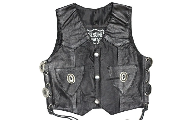 Kids Leather Vest With Side Laces & Concho
