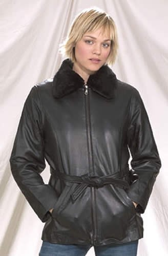 Womens Leather Jacket with Faux Fur Collar