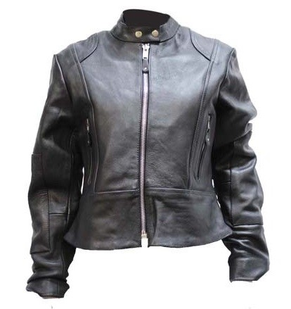 Women's Leather Motorcycle Jacket with Zip Out Lining