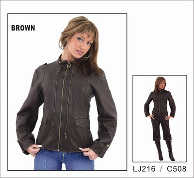 Brown Butter Soft Ladies leather Jacket with Studs