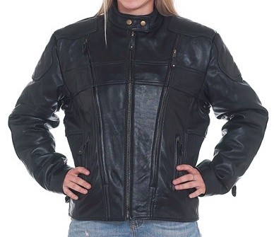 Womens Racer Leather Motorcycle Jacket with Air vents
